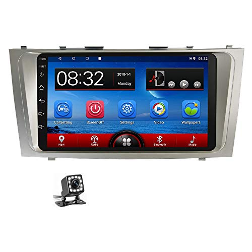 Android Car Stereo for Toyota Camry 9'' HD Touch Screen Double Din Car Radio in-Dash Multimedia Player with GPS Navigation, Bluetooth, FM Radio, WiFi, SWC, Dual USB, Mirror Link+ Rear View Camera