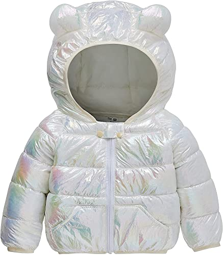 YanTai Boys Girls Winter Down Jacket Light Puffer Coat Hooded Waterproof Raincoats Reflective Surface Warm Coats for Kids (Color : White, Size : 2-3T)
