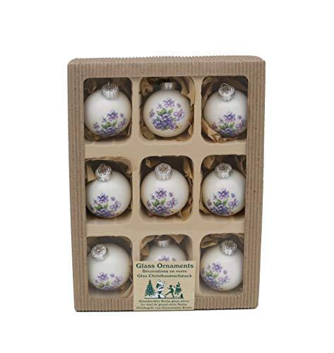 Decoración original para el árbol de Navidad, 9 bolas en porcelana blanco/lila, con decoración de flores aprox. 5,7 cm + 50 colgadores rápidos gratis a su pedido
