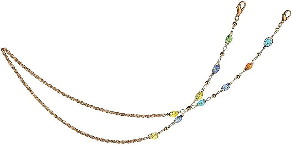 JJWC Oval Color Crystal Chain Crystal Ball Twist Chain Glasses Chain Lanyard Multi-Purpose Strap Cords Necklace Women Jewelry (Color : A, Size : Length-70CM)