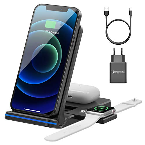 AMZLIFE Wireless Charger,15W Fast Kabelloses Ladestation, 3 in 1 Induktive Ladegerät Kompatibel mit iPhone 12/11 Pro Max/XS MAX/XR/X/8/Apple Watch 6/5/4/3/2/1/Airpods Pro/2/1 [Mit 18W QC 3.0 Adapter]