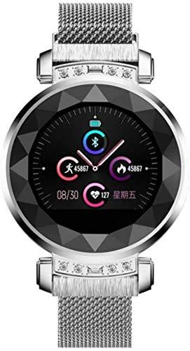Smartwatch für Damen, Herzfrequenzmesser, Fitness-Tracker, Armband, Farbe: Silber