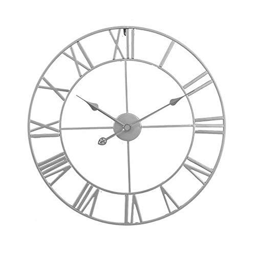 Reloj de pared grande de metal plateado, estilo romano, redondo, silencioso, funciona con pilas, números romanos para sala de estar, dormitorio, cocina, decoración