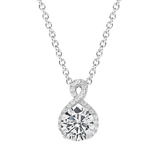 Cate & Chloe Alessandra 18k White Gold Plated CZ Halo Infinity Pendant Necklace, Best Round Diamond Solitaire Cubic Zirconia Crystal Silver Necklaces Special-Occasion Jewelry