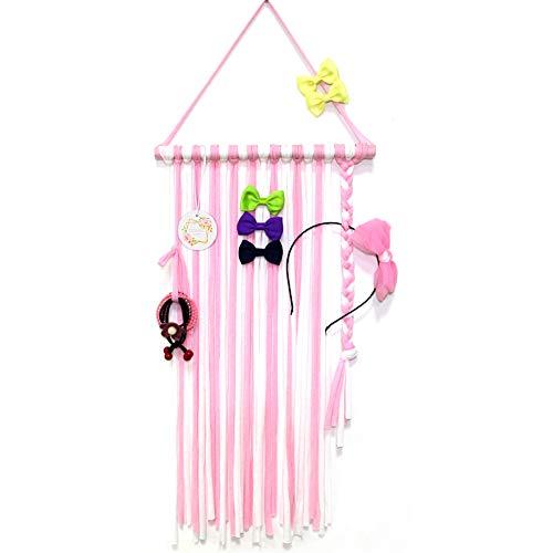 QtGirl Baby Girls Hair Bow Holder 30' Long Bow Hanger Hair Clips Storage Organizer(Pink+White)