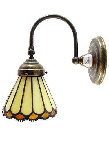 Applique ottone brunito,lampada illuminazione da parete per interno stile liberty una luce con vetro stile tiffany ac9 Misure: Sporgenza circa 20,5cm, Ø paralume 13cm, Ø base 12cm.