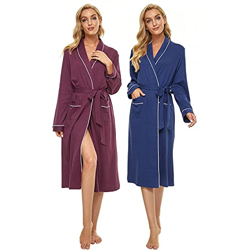 AMYTIS Damen Morgenmantel, leichte Bademäntel für Damen in voller Länge Bademantel Weiche Nachtwäsche 2er Pack