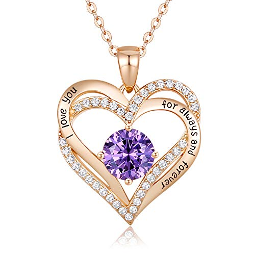 CDE 925 Sterling Silver February Birthstone Pendant Necklace for Women Rose Gold Plated Forever Love Heart Necklaces Jewellery Anniversary/Birthday Gifts for Her/Mum/Wife