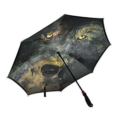 ISAOA Nebulosa en forma de lobo en el cielo nocturno inversa paraguas de golf auto abierto a prueba de viento impermeable grande plegable con manga de transporte