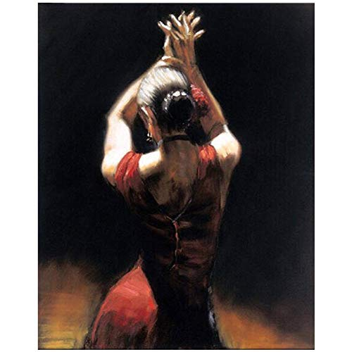 5D DIY Adulte Diamant Peinture Latine Danseuse De Flamenco Femme Strass Mosaïque Photo Art Convient pour Les Loisirs et La Famille Décoration Murale Carré Diamant sans Cadre -40x30 cm