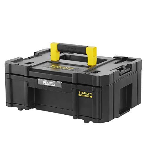 Stanley FMST1-71968 FatMax Pro-Stack Werkzeugbox (9,5 Liter, mit leichtgängiger Schublade, 4 herausnehmbare Fächer, rostfreie Metallschließen, über seitliches Verbindungssystem stapelbar