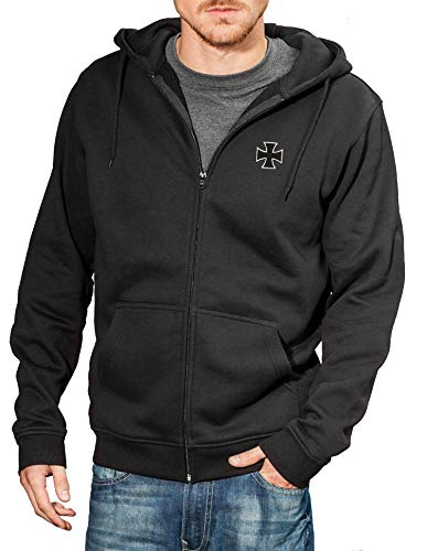Baddery Motorrad-Jacke: Biker Pray mit Stickerei Eisernes Kreuz - Geschenk für Biker/Sweat mit Kapuze/Zip Hoody/Kapuzen-Pullover/Urban Hoodie/Chopper/Hooded-Jacket/Schwarz/Stick/USA (XL)