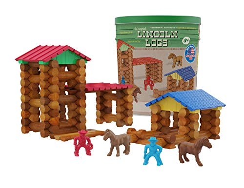 Lincoln Logs Centennial Edition Tin Amazon Exclusive-150+ Pieces-Real Wood-Ages 3+-Best Retro Building Gift Set for Boys/Girls-Creative Construction Engineering-Top Blocks Kit-Preschool Education Toy