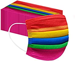 50/100 Pack Face Shield Disposable Three Layer; with Elastic Ear Loop, 3 Ply Breathable and Comfortable for Blocking...