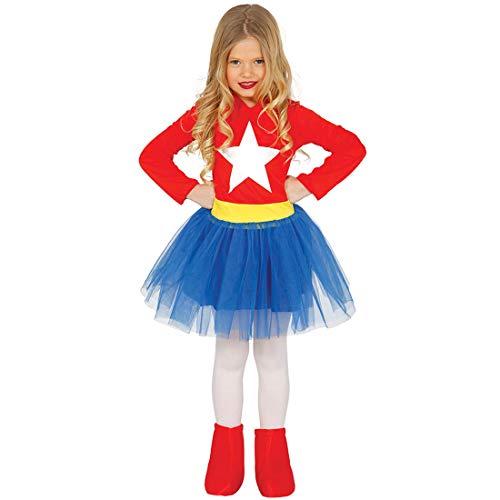 Amakando Fresco Disfraz de superhéroe para niña / Rojo-Azul 10 - 12 años, 142 - 148 cm / Genial Disfraz de niña superhéroe / Inmejorable para Carnaval Infantil y Fiestas de Disfraces