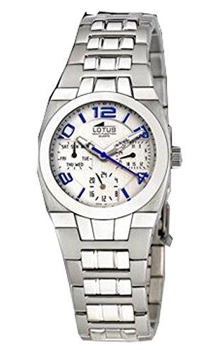 Reloj Lotus cadete multifunción de Acero y Esfera Blanca/Celeste 32 mm. W.R. 10 ATM