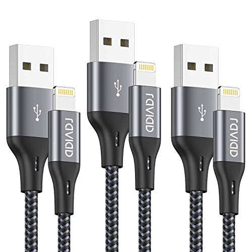 RAVIAD Cable Cargador iPhone [1.8M 3Pack] Cable Lightning Carga Rápida Trenzado de Nylon Cable iPhone Compatible con iPhone 11 Pro XS MAX XR X 8 Plus 7 Plus 6S 6 Plus 5 5S 5C SE - Gris