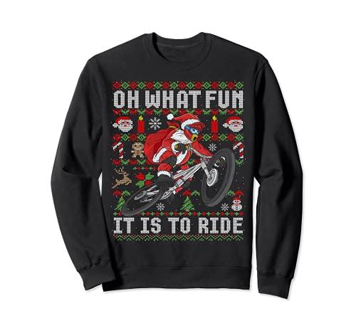 Oh ¿Qué divertido es montar bicicleta de montaña MTB fea Navidad Sudadera