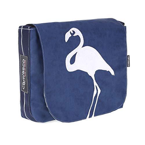 Messenger Bag CANVASCO Mini/Tasche blau/Gurt blau-weiß/Motiv Flamingo weiß