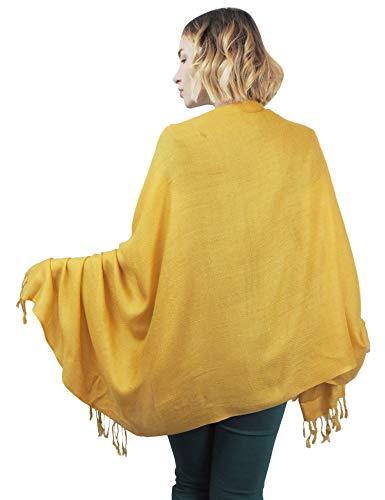Pashmina amarilla con borlas para mujer