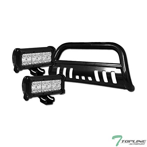 Topline Autopart Black Bull Bar Brush Push Bumper Grill Grille Guard With Skid Plate + 36W CREE LED Fog Lights For 07-20 Toyota Tundra / 08-20 Sequoia