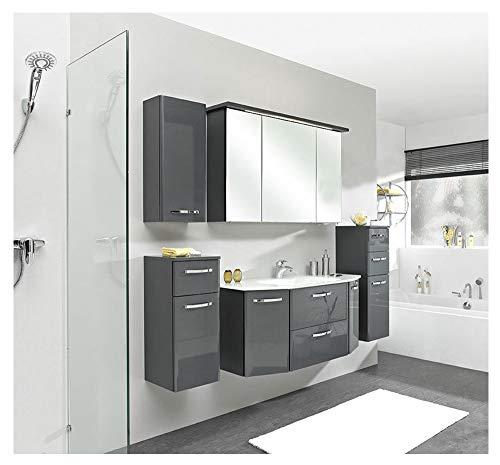 Pelipal - Velo 12 - Badmöbel - 112 cm - 6-teilig mit Spiegelschrank, Glas-Waschtisch usw. in Anthrazit Hochglanz/Anthrazit