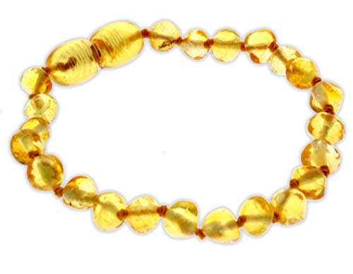 Premium Quality Natural Baltic Amber Bracelet/Anklet by SilverAmber Jewellery UK - 100% Eco-Friendly Packaging, Protection Jewellery - Money Back Guarantee - 12 cm - Honey