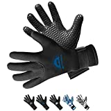 BPS 3mm Neoprene Dive Gloves with Anti Slip Palm - Five Finger Gloves for Sailing, Spearfishing, Paddleboarding, and Other Water Activities - for Men and Women (Black / Snorkel Blue, Small)