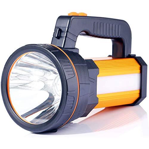 Outdoor-Taschenlampe Super Bright Tragbarer Hand-LED-Scheinwerfer 7000 Lumen 9000mAh USB-wiederaufladbare Taschenlampen IP5 Wasserdichte Scheinwerfer- Power Bank (Gold)