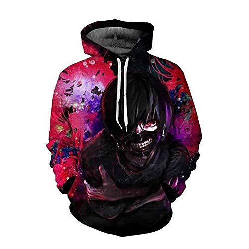Synona Tokyo Ghoul Sudaderas con Capucha Edicin Conmemorativa Unisex Impreso en 3D Kaneki Ken Cosplay Disfraz Sudadera Casual de Manga Larga Hoodie Pullover para Hombre Mujer Estilo de Horror Oscuro