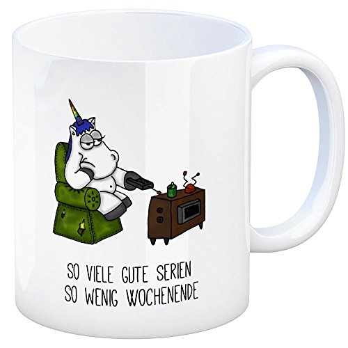 trendaffe - Honeycorns Kaffeebecher mit Einhorn Motiv und Spruch: So viele Gute Serien so wenig Wochenende Tasse Kaffeetasse Becher Mug Teetasse Büro Wochenende Serien Serienjunkie Streaming Faulpelz