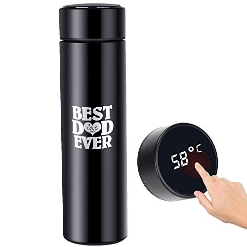 Jbniuay - Termo para DAD, regalo para el día del padre, botella de agua de 500 ml, pantalla táctil, de acero inoxidable 304, recipiente hermético inteligente, ideal para calor y frío