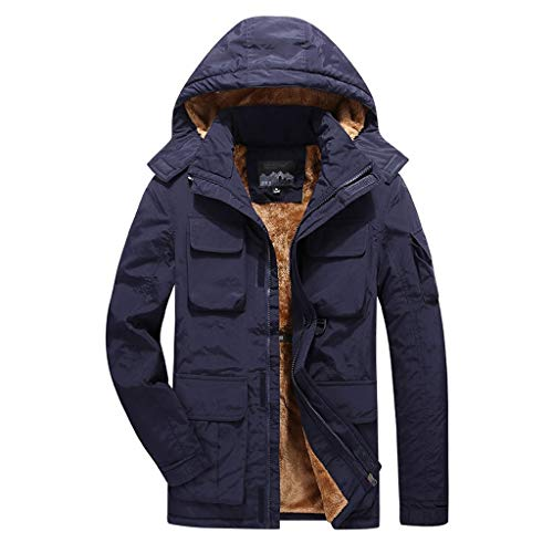 KEERADS Herren Winterjacke Parka Gefüttert Baumwolle Mantel Jacke Warm Outdoor Kapuzenjacke Dicke Winddichte Jacke mit Mehreren Taschen Wintermantel