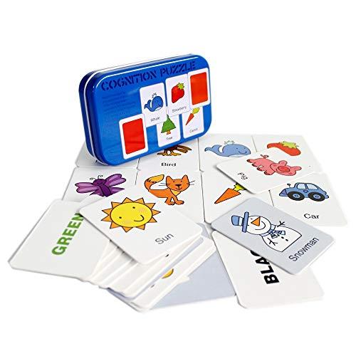 Gobus 32 stücke Flash-Karten Erkenntnis Puzzle Karten Geschichte Wörter Form Passenden Puzzle Früherziehung Karte Lernspielzeug in Einer Box (Form Erkenntnis)
