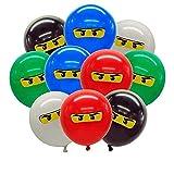 Sinwind Globos Ninja, 50 pcs Globos de decoración de cumpleaños, Globo Ninja de látex Natural, Adecuado para jardín de Infantes, Familia, Fiesta de cumpleaños Interior