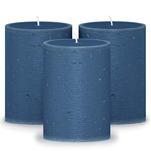 CANDWAX 3x4 Pillar Candles Set of 3 - Decorative Candles Unscented and No Drip Candles - Ideal as Wedding Candles or Large Candles for Home Interior - Dark Blue Candles