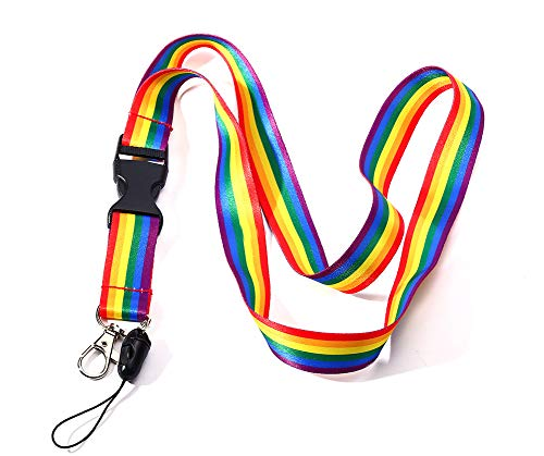 Gay Pride Lanyard ID Badge Holder Rainbow Striped LGBTQ Pride Flag Lanyard Key Chain for Keys Cell Phone Holder for Pride Parade