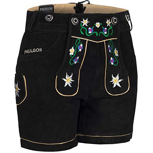 PAULGOS Damen Trachten Lederhose + Träger, Echtes Leder, Kurz in 8 Farben Gr. 34-50 M1, Farbe:Schwarz, Damen Größe:42