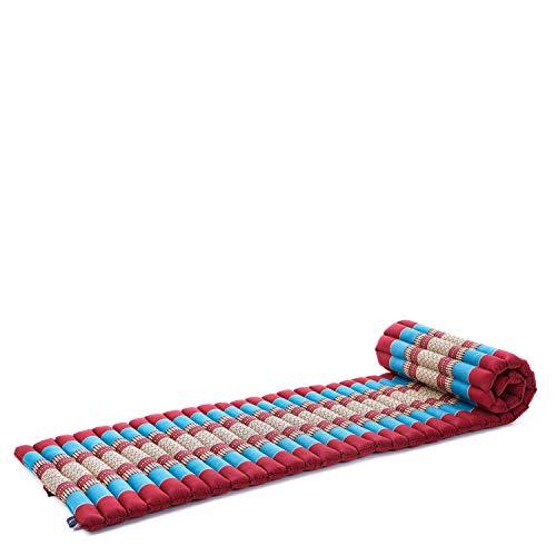 Leewadee colchoneta tailandesa Enrollable S – Futón para Dormir, colchón para masajes Grueso, Alfombrilla de kapok ecológico, 200 x 50 cm, Azul Rojo