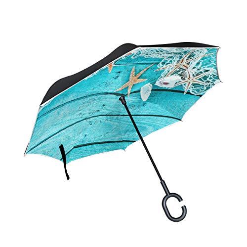 Wamika Parapluie inversé en Forme de C étoile de mer avec Bordure Bleue Double Couche Coupe-Vent et Protection UV Auto-Portant Non Auto Grand Droit à l'envers pour Voiture Rai