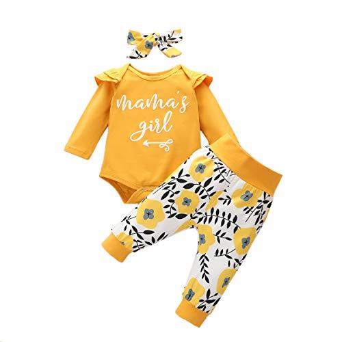IMEKIS Conjunto de ropa para bebés y niñas con diseño de mommy is my bestie de manga larga con pantalones de leopardo y diadema para niños pequeños