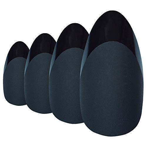 Faux Ongles Bling Art Noir Mat Stiletto 24 Longue Faux bouts d'ongles acrylique avec colle