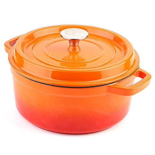 Casserole En Fonte Avec Couvercle Cocotte En Fonte Casserole Four Hollandais Pour Cuisson à La Vapeur,Orange-22cm