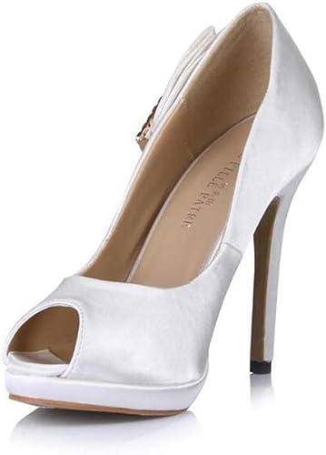 GHFJDO Wohommes Peep Toe 12CM Stilettos Round Platform Pumps Robe Party Slip on Sandals,blanc,43EU