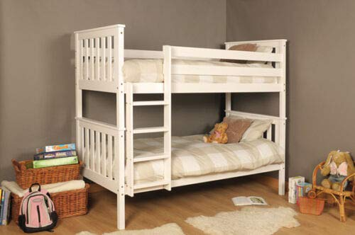 White Bunk Bed Solid Pine Atlantis Wooden Bunk Bed - Splits into 2 Single Beds when needed