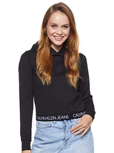 Calvin Klein Jeans Damen Logo Elastic Milano Hoodie Pullover, Ck Black, XS
