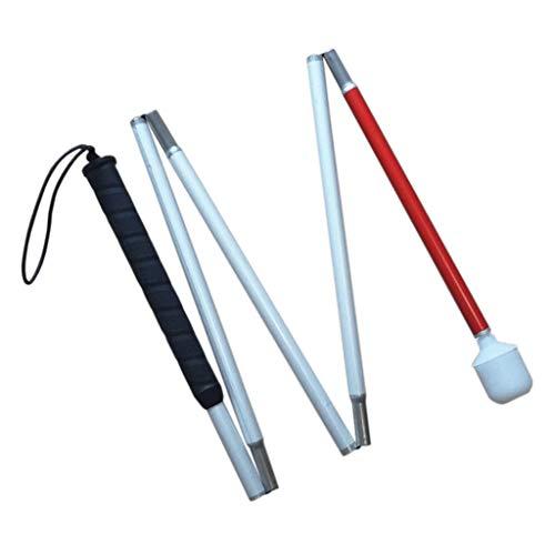 Aluminio Baston Blanco para Ciegos y Baja Vision Plegable, 5 Secciones, 120cm (47.2 pulgada) ⭐