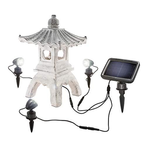 Iluminado Solar Gartenpagode - Inclusive Lámpara Trío Profesional Con 3 Focos - Color de Luz 6500K Blanca Fria - Medidas ( Lxwxh ): Aprox. 255 x 200 X 405MM - Japonés Linterna Piedra, Esotec 102552