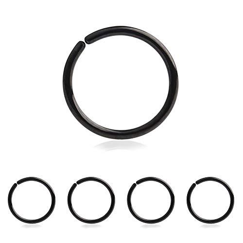Drawer Props - Pack 5 Piercings Aros Oreja y Nariz 0.8 X 8mm de Acero Quirúrgico Flexible - Color Negro - Pendientes Reales Hipoalergénicos