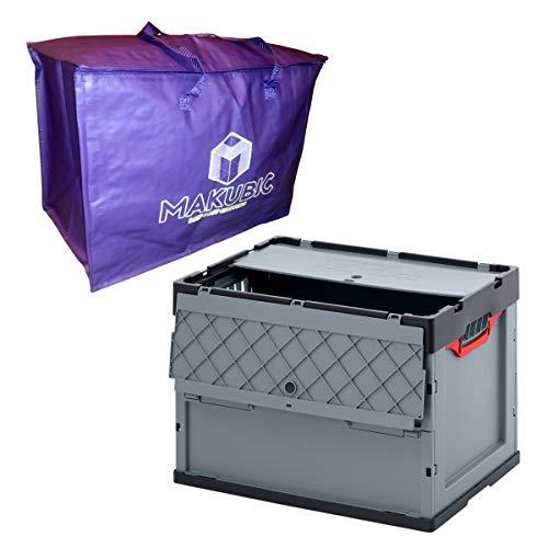 AUER Caja de Almacenamiento Plegable y Apilable profesional, Grande 83 litros - Pack con Bolsa MAKUBIC - Para Embalaje, Mudanzas, Transporte, Camping o para llevar en Maletero